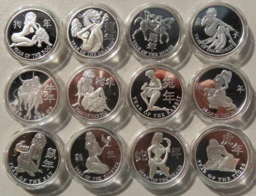 Full Set .999 Nude Silver Proof Coin Art Rounds Chinese New Year / Asian Zodiac