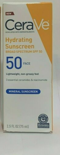 CeraVe Hydrating Mineral Sunscreen for Face SPF 50 2.5 oz