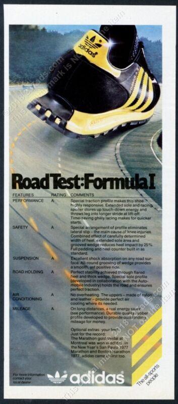1977 Adidas Formula I 1 running shoe photo vintage print ad