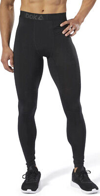 Mens Compression Long Tights (Reebok WOR Big Logo Compression Mens Long Training Tights - Black)