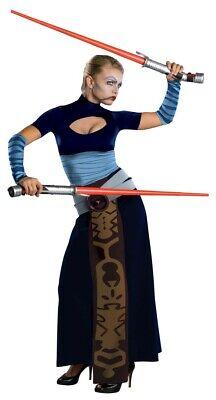 Star Wars Asajj Ventress Kostüm für Damen Lichtschwert Krieg der Sterne Kleid (Kleid Für Kostüm)