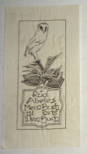 Rud Abeles, Ex Libris Bookplate. German. Circa 1930.