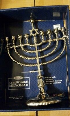 Metal Hanukkah Menorah Home Holiday Decoration Indoor Table Gift Idea Polished* - Hanukkah Decorating Ideas