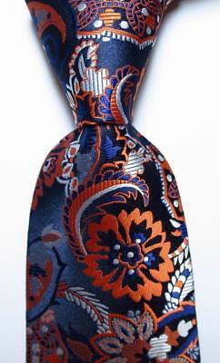 New Classic Floral Dark Blue White Orange JACQUARD WOVEN Silk Men's Tie Necktie for sale  Shipping to Canada