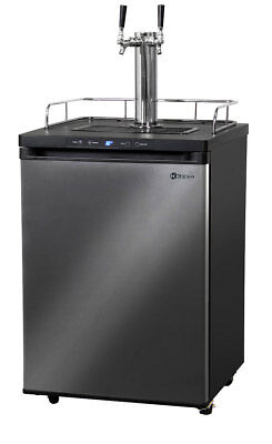 Kegerator Digital Keg Refrigerator Black Stainless - Dual Faucet - D System