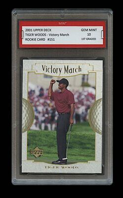2001 TIGER WOODS UPPER DECK US OPEN VICTORY 1ST GRADED 10 PGA GOLF ROOKIE CARD