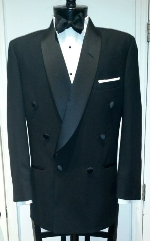 Mens Black Double Breasted Shawl Round Collar Lapels Tuxedo Jacket Wool 90s 80s