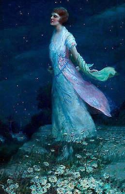 Beautiful Woman in Moon and Star light by Harold Brett - Woman In Light