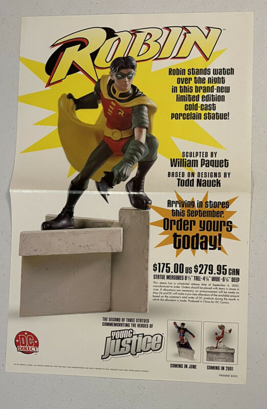 """2000 DC Direct (Young Justice) ROBIN """"Folded Promo Poster"""" 11"""" x 17"""" Batman"""