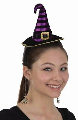 Mini Witch Hat Headpiece & Dangling Spiders Adult Halloween Costume Accessory