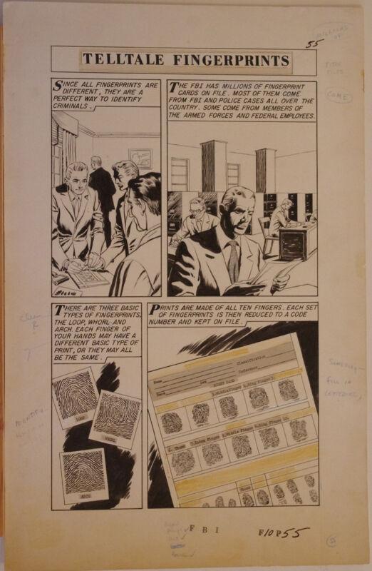 FBI - WORLD AROUND US #6 pgs 55-57 original art, 1959, 3 pgs, FingerPrints, CSI
