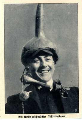 Kürbisfest in Nizza Kopfschmuck eines Teilnehmers Ausschnitt von 1909
