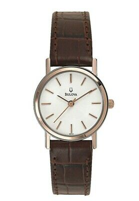 Bulova Women's Classic Rose Gold Accents Quartz Brown Leather 25mm Watch 98V31