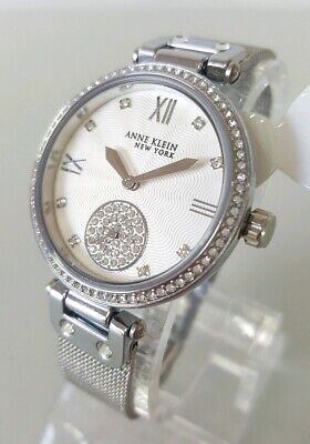 Anne Klein NY 12/2309SVSV Women's 35mm Silver Tone Crystal Accent Watch   *NWOT*