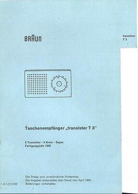 Braun Service Manual für  T 3 Taschenempfänger