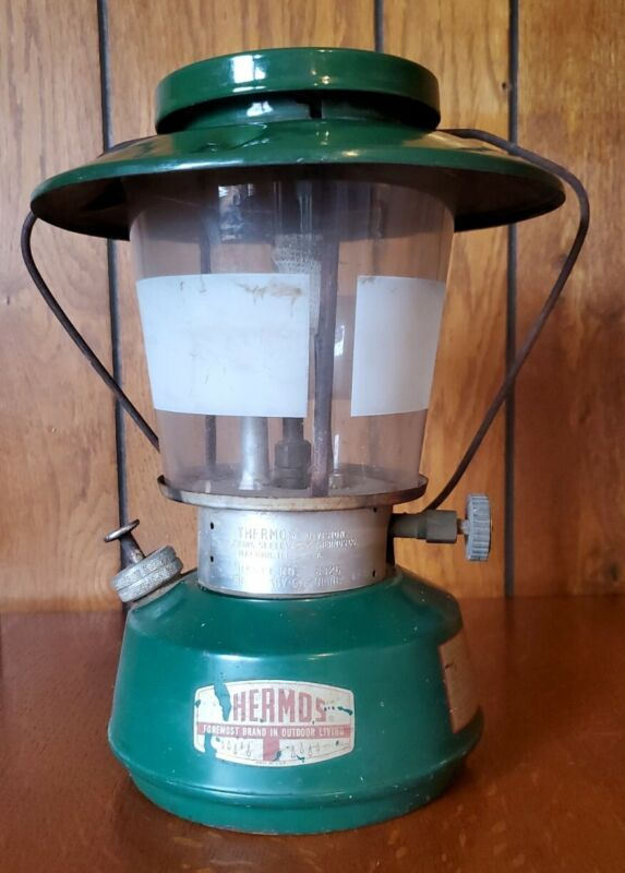 Vintage Thermos Gas Lantern ~ Model No. 8326 ~ Green with Wide Top Hat ~