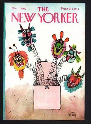 New Yorker magazine COVER ONLY  November 1 1969-Steig art-Halloween, jack in box