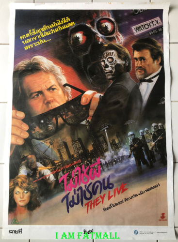 John Carpenter THEY LIVE original Thai Poster cult movie vintage artwork 1988
