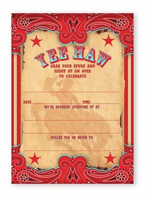 Cowgirl Party Invitations (Cowgirl Party LARGE Invitations AR - 10 Invitations + 10)