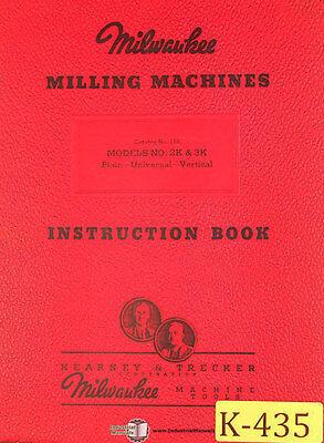 Kearney Trecker 2k 3k Plain-universal-vertical Milling Machine Instruction