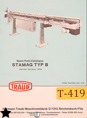 Traub Stamag Typ B Bar Loader Spare Parts Manual 1974