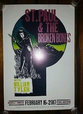 ST PAUL & THE BROKEN BONES Ryman HATCH SHOW PRINT Nashville 2017 Tour Poster #1
