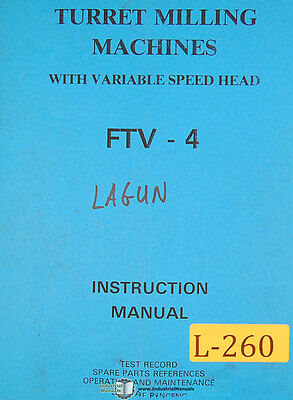 Lagun Ftv-4 Milling Machine Instructions And Parts Manual