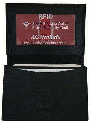 Mens Leather RFID Signal Blocking Expandable Credit Card ID