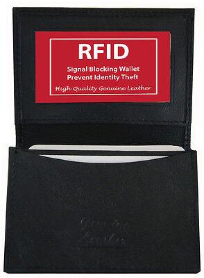BLACK LEATHER Window ID Credit Card Wallet Pocket RFID BLOCK SAFE SALE