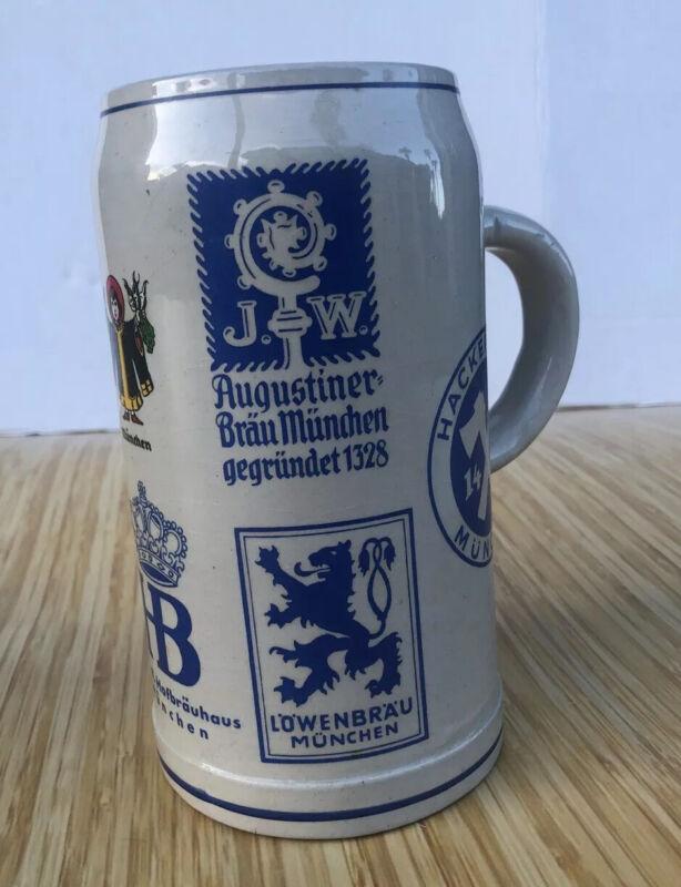 RARE 1 Liter Stein West Germany Augustiner Hofbrauhaus Spatenbrau Paulanerbrau