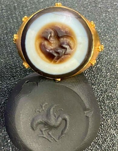 Ancient Protect evil Eye Agate Intaglio Cameo Phoenix Bird Solid 22K Gold Ring