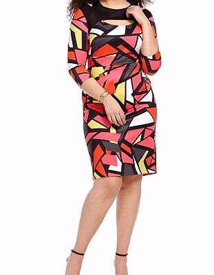 Jete Fall Geometric Cut Out Sheath Dress Size 5X - Fall Cut Outs
