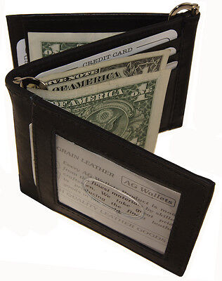 """Men""""s Cow Leather Double Money Clip Z-Fold Trifold Wallet 9 Cards Outside ID Bk"""