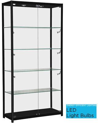 Only Hangers Black Aluminum Framed Showcase Display Case Led Light