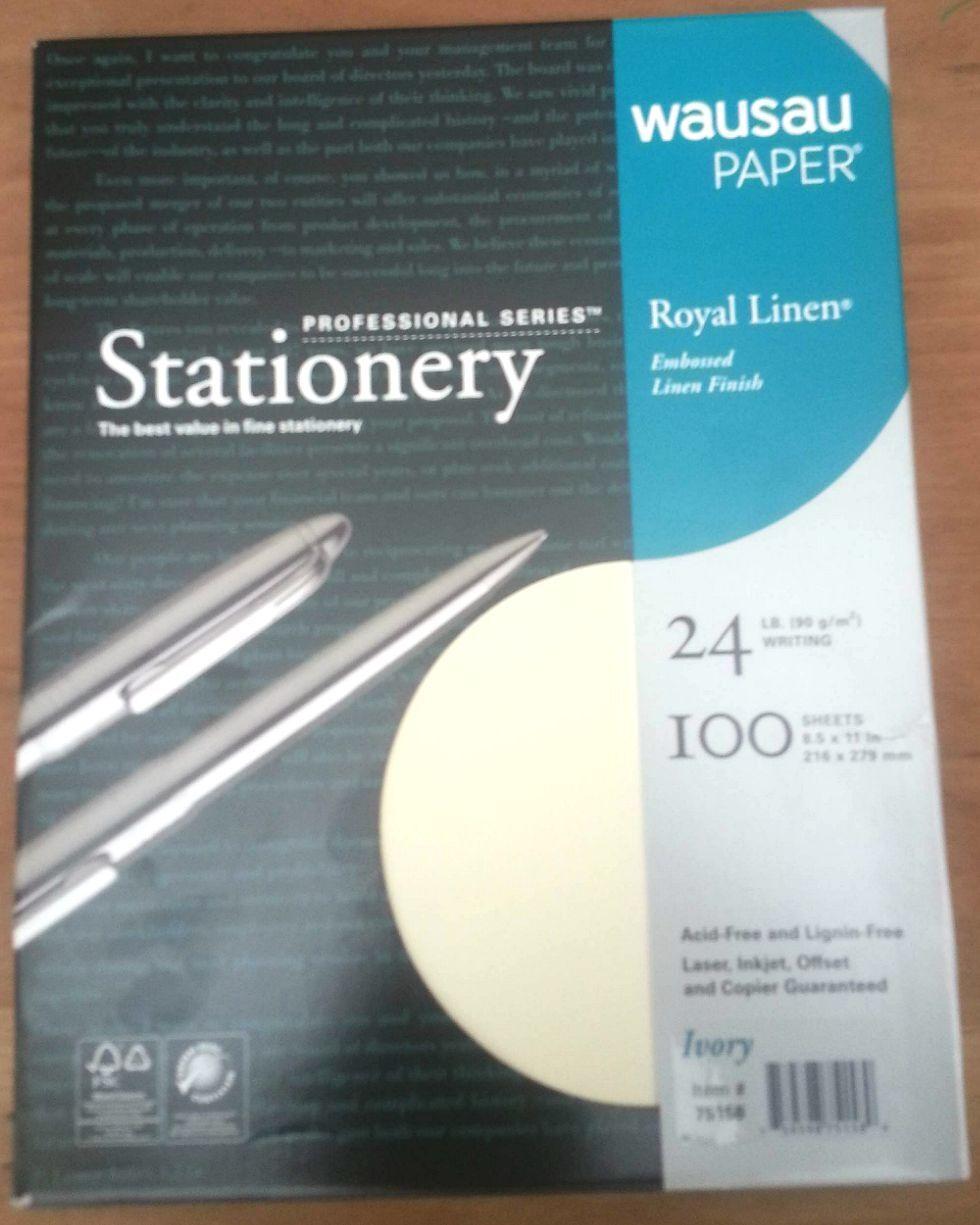 Royal Linen Ivory Stationery Resume Paper - 8.5 x 11-24# 100 Sheet ...