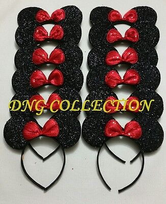 30 PCS x MINNIE MOUSE SEQUIN BOW EAR HEADBANDS PARTY FAVORS BLACK mikey COSTUME  - Mikey Mouse Costume