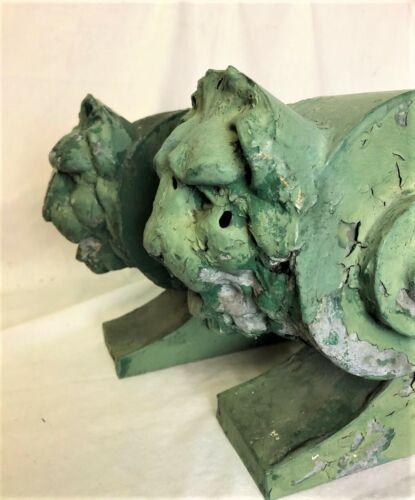Antique Pair Lion Architectural Adornments Metal