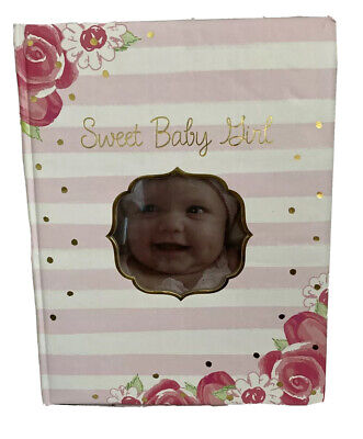 """Baby's First Memory Book """"Swe Baby Girl"""" Floral And Pink Striped *read"""