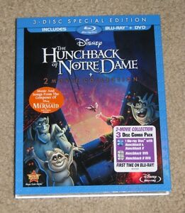NEW Disney The Hunchback of Notre Dame & Hunchback II Blu-ray & DVD 3 Disc Set