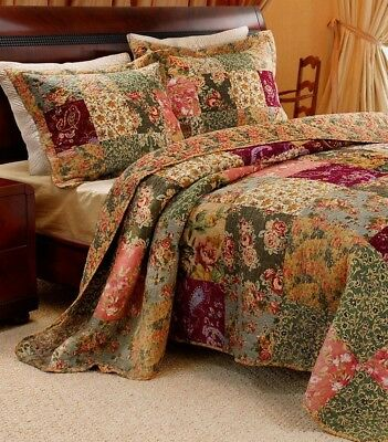 VINTAGE PATCHWORK 3pc QUEEN BEDSPREAD QUILT SET : XXL RED GREEN BLUE PINK ROSES ()