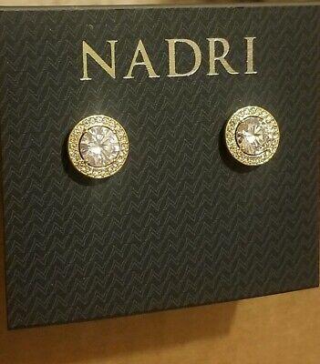 Nadri Crystal Round Framed Halo Stud Earrings, Goldtone NWT Framed Quartz Earrings