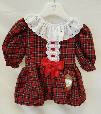 AW18 Kinder Boutique Romany Spanish RED Tartan Dress with collar 3-24 months ()