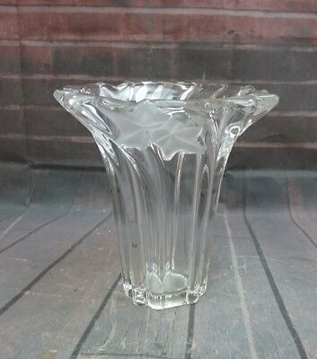 Heavy Glass Vase with Frosted Leaf Design and swirled raised columns