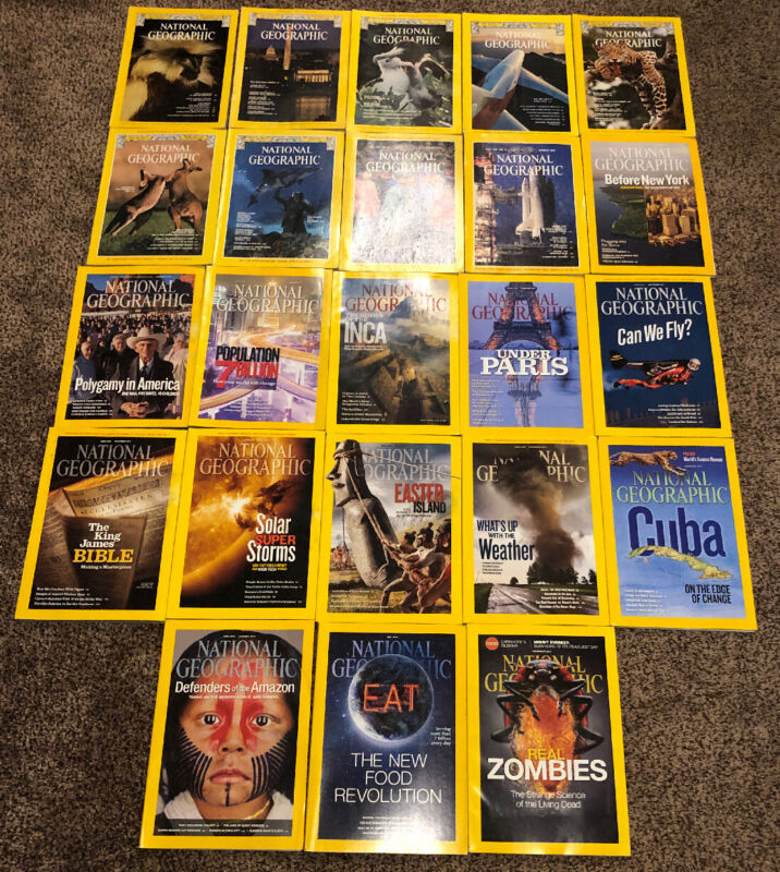Lot Of 23 National Geographic Magazines 1976-2014