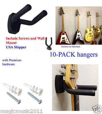 10 PCS Pack Guitar Hangers Hook Holder Wall Mount Display Instrument, All Size
