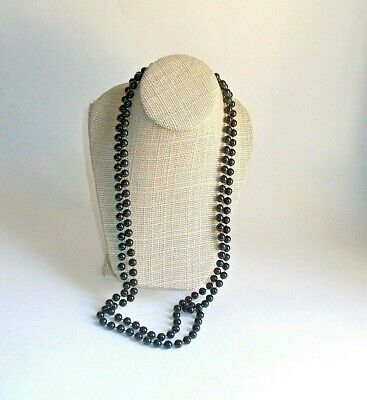60s -70s Jewelry – Necklaces, Earrings, Rings, Bracelets Vintage 1960's/1970's Long Black Plastic Bead Necklace- 58