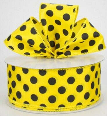 💛 5 YD Yellow Satin Ribbon with Big Black Polka Dots ~Wired 2.5