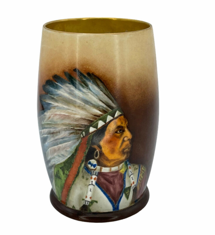 Willets Belleek 1899 Native American Handpainted Portrait Tankard Mug Signed ELR