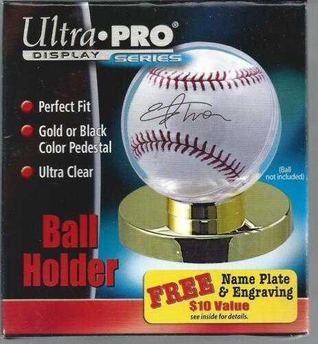 Ultra Pro Baseball Ball Holder -gold Base! Ultra Clear Perfect Fit!!