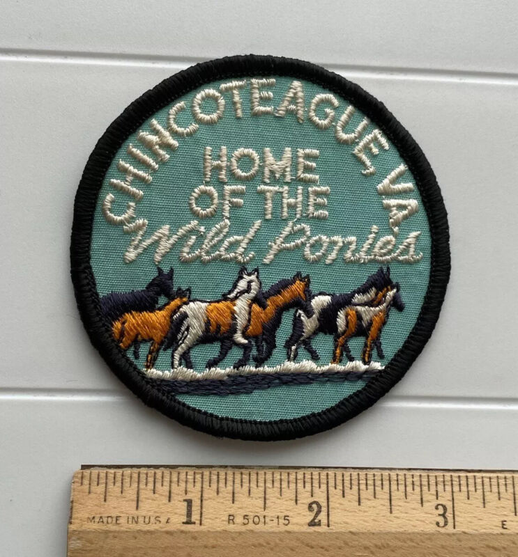 Chincoteague Virginia Home of the Wild Ponies Round Embroidered Souvenir Patch